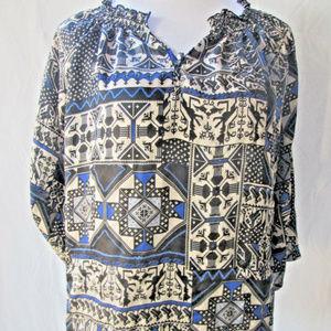 Anthropologie Greylin Blouse Medium Blue Black